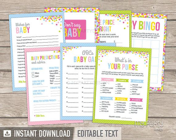 Baby Sprinkle Games  Baby Shower  INSTANT by mypartydesign on Etsy