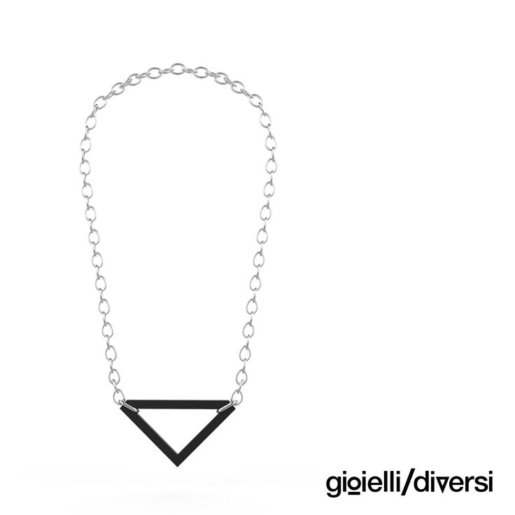 necklace from black pvc_ triangle pendant_new!