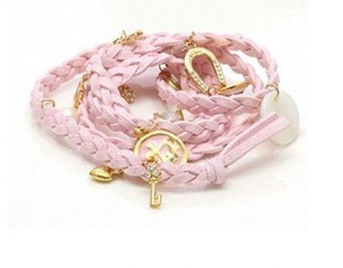 Pink Leather, charms Bracelet