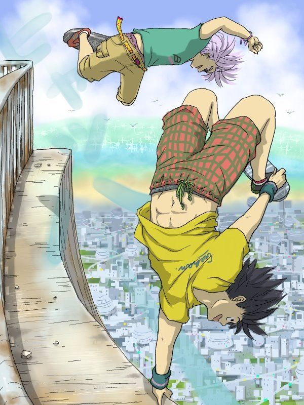 Goten and Trunks teenagers just being teenagers