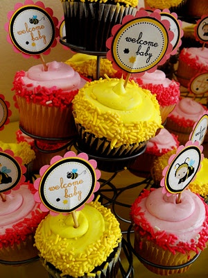 Bumblebee themed baby shower cupcakes