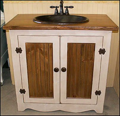 Pics Of Photo of Antique White Bathroom Vanities With Sink Country Country Pine Vanity with Copper Sink Bronze Faucet