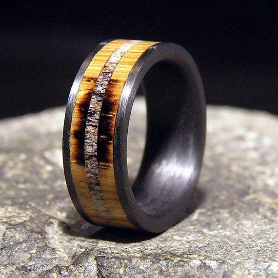 Used Jack Daniel Distillery Whiskey Barrel Wood and Deer Antler Inlay by HolzRingShop Grooms ring