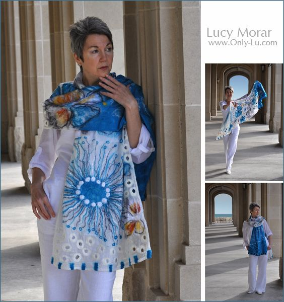 """Ocean of dreams"" Nuno Felt Art Scarf by Lucy Morar   www.only-lu.com"