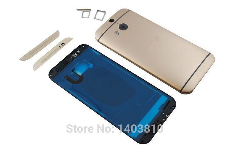 OEM Золото для HTC One M8 Полный Крышку Корпуса Корпуса Рамка батареи Дверь Камеры + Верхней и Нижней Крышки, SIM Лоток с логотип
