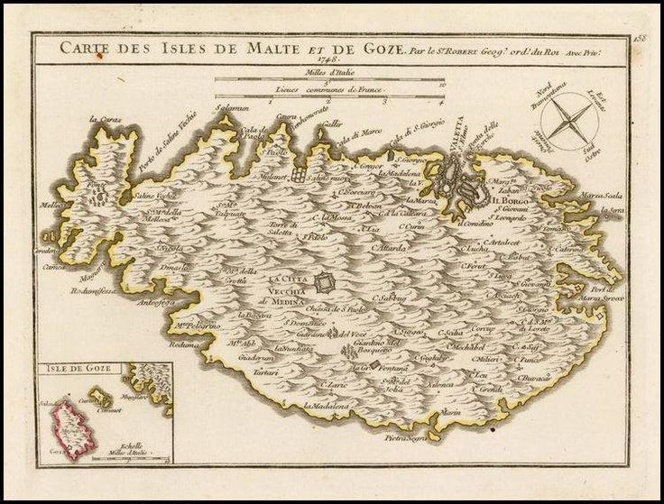 """March 2, #MaltaMapMonday provides a small elegant map of Malta with Gozo and Comino placed in the lower left corner by the famous cartographer, De Vaugondy. Gilles Robert De Vaugondy, """"Carte des Isles de Malte et de Goze. Paris: 1748."""