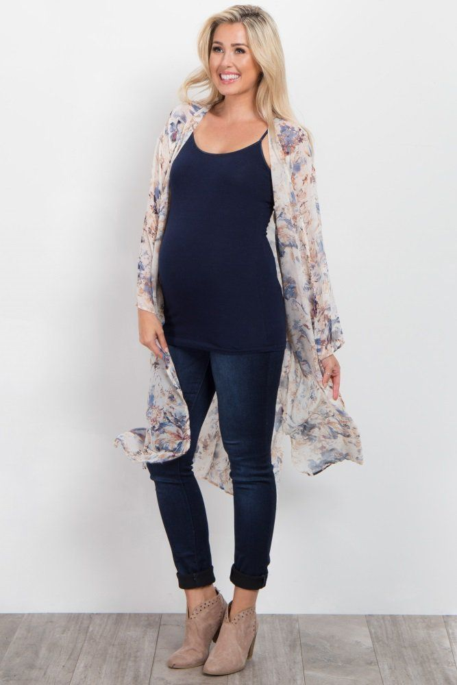 e6228d22ff5 Ivory Abstract Floral Chiffon Long Kimono  maternityfashiondressy