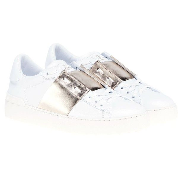 Valentino Garavani Open Sneakers (530 AUD) ❤ liked on Polyvore featuring shoes, sneakers, white, valentino shoes, valentino trainers and valentino sneakers