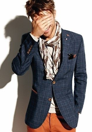 How Long Should a Man's Scarf Be?Fashion Men, Menfashion, Orange Pants, Colors, Men Style, Jackets, Men Fashion, Blazers, Scarves