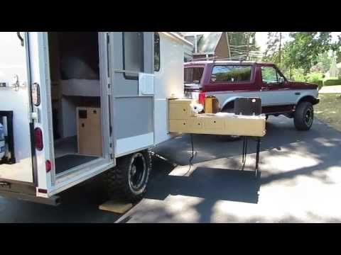 Off Road Cargo Trailer Conversion & Slide Out Kitchen - YouTube