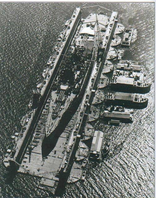 US New Mexico-class battleship in floating dry dock World War II