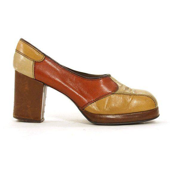 1ccf7829487 60s Platform Pumps   Vintage 1960s Patchwork Leather High Chunky Heel Shoes    Hippie Boho Bohemian H