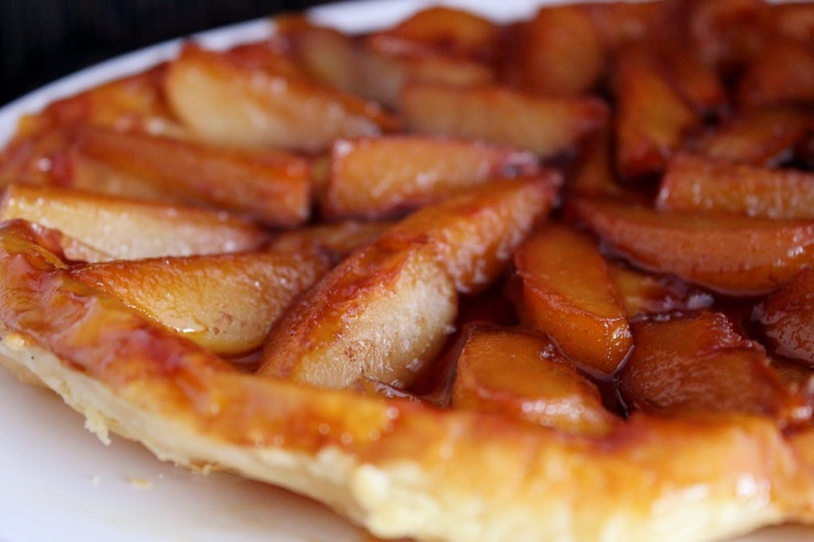 Caramelized pears baked in puff pastry.