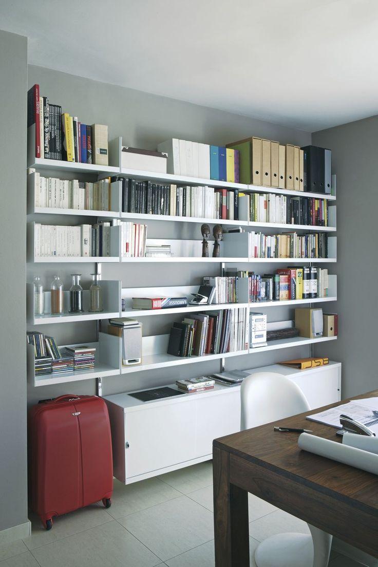 Wall shelves over desk