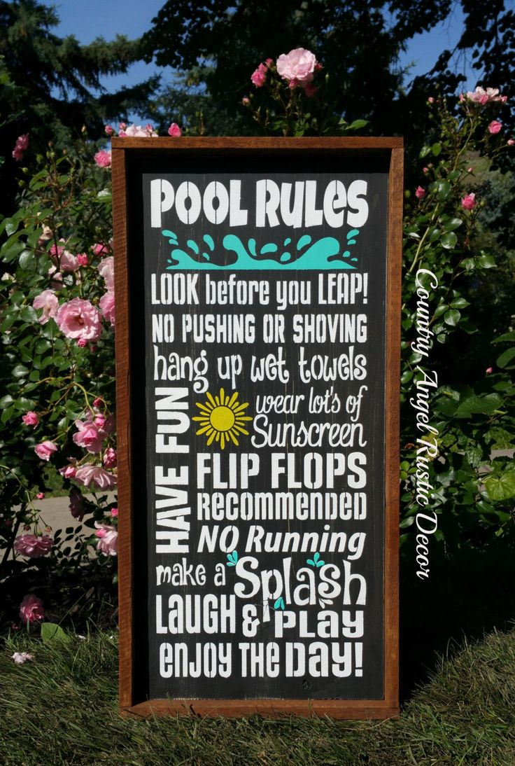 "Rustic ~Pool Rules~ Rustic Wood Typography/Subway wood sign 12""x24"", Outdoor Sign, Deck Sign, Backyard Sign, Swimming Pool Sign by CountryAngelRustic on Etsy https://www.etsy.com/listing/236515113/rustic-pool-rules-rustic-wood"