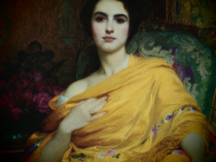 Portrait of a Lady the saffron shawl  by Sir Frank Dicksee)