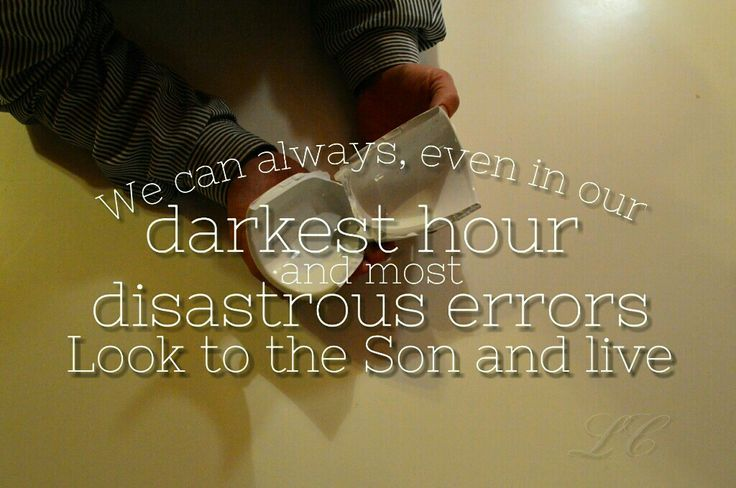 We can always, even in our darkest hour and most disastrous errors look to the Son and live.