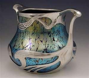 Loetz Art Nouveau Iridescent Glass Vase with Pewter Mount