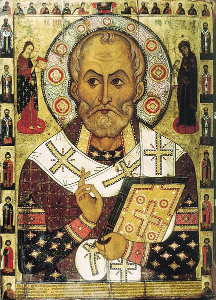 "St. Nicholas ""Lipensky"" as he appears on a Russian icon dated to 1294 from Lipnya Church of St. Nicholas in Novgorod 