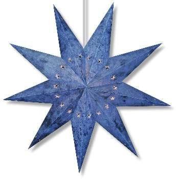 Handmade Paper Star Lantern - Batik Blue 9 Point