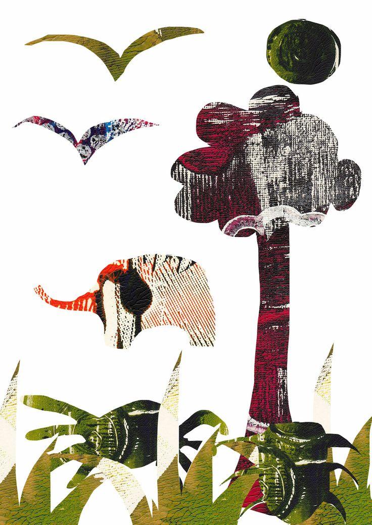 Jungle monoprint postcard