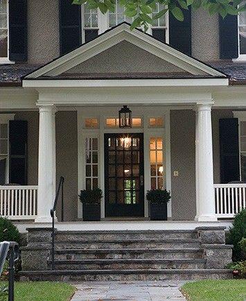 Gray House, White Trim, Black Door & Shutters