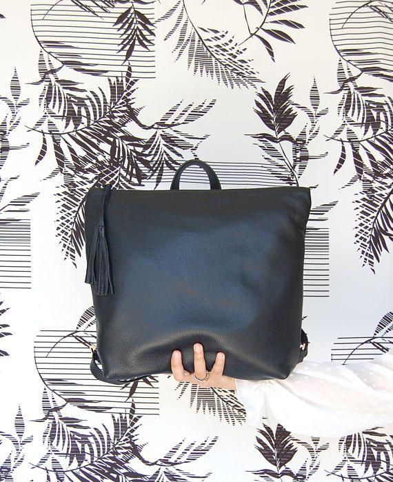 Black leather backpack, Metropolitan backpack, backpack for women, leather school bag, womens backpack, black leather bag