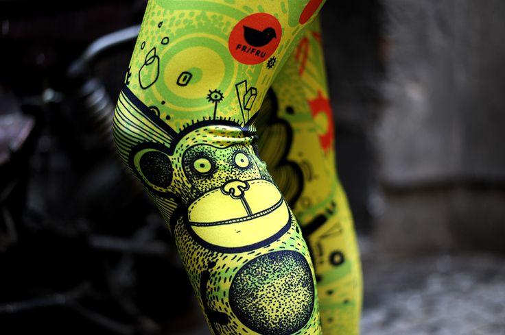 Szaleństwo wzoru #FRIFRU #labelsshop #yellow #monkey #fashion #leggins