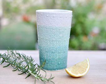 elegant turquoise and white lace textured tumblercup porcelain handmade pottery wwwetsy - Wie Man Ein Kingsizekopfteil Aus Einer Alten Tr Macht