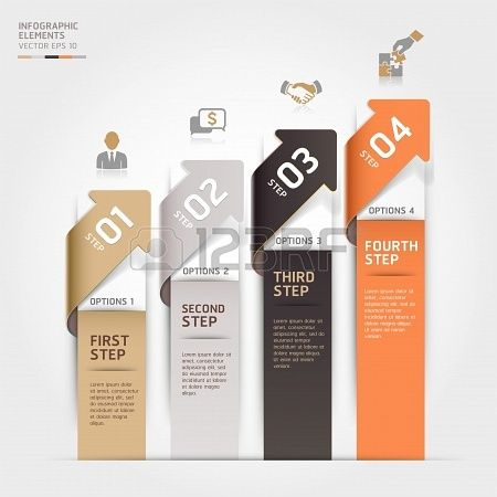 Modern arrow business steb options banner.  illustration. can be used for workflow layout, diagram, number options, step up options, web template, infographics. Stock Photo - 19093316