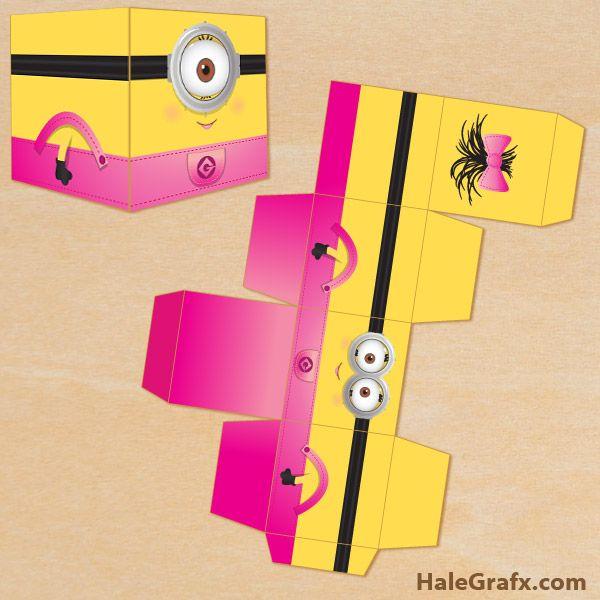 girl minion treat boxes FREE Printable Despicable Me Girl Minion Treat Box