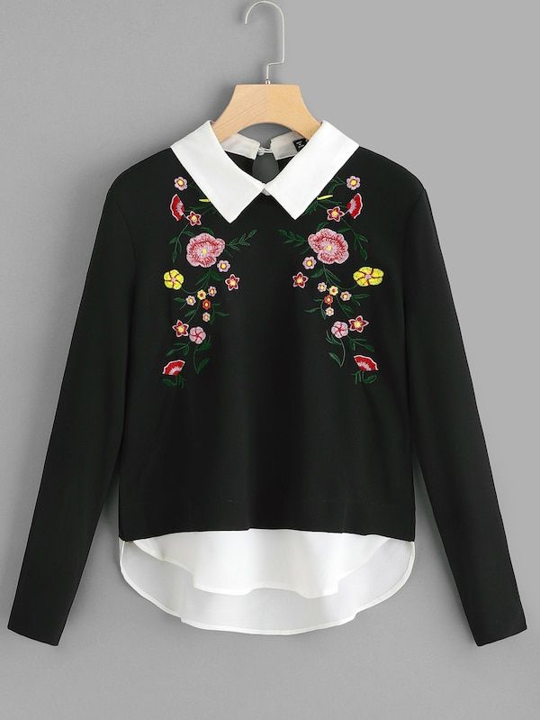 c5d7a3266ba7bc Pullover con bordado floral en contraste-Spanish SheIn(Sheinside ...
