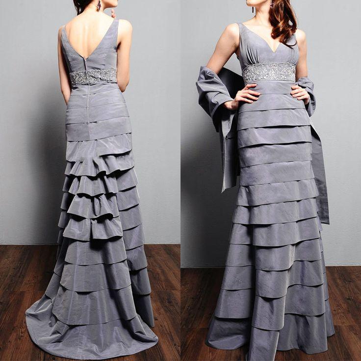 Со складками вышивка бисером с v-образным вырезом невесты матери платья для свадьба контейнер многослойное мать платья невесты с накидка