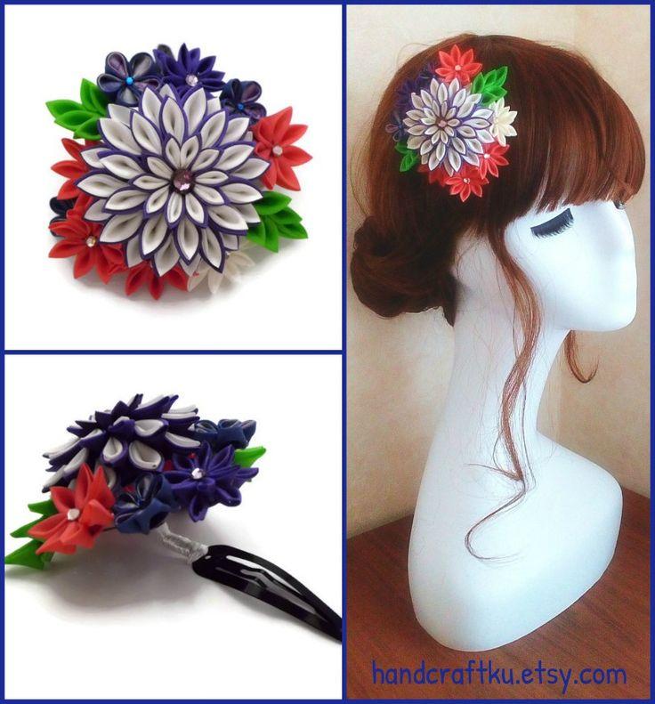Colorful flower hair clip, Kanzashi flower hair clip, Kimono yukata cosplay hair accessory, Japanese silk flower, Tsumami kanzashi  #tsumamikanzashi #kanzashi  #hairclip #hairaccessories #kimono #yukata #cosplay #bridalhair #silkflowers #handmade #etsy #etsyshop