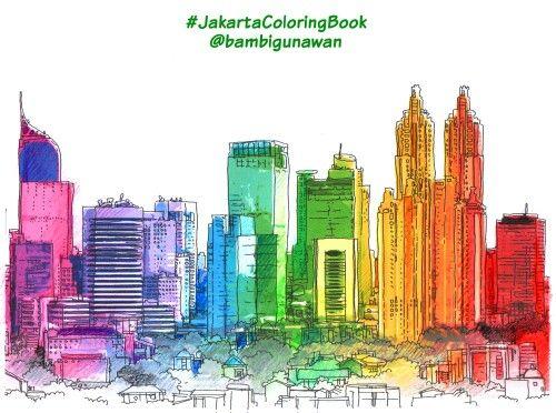 Cara mewarnai gedung2 pencakar langit Jakarta, buat gradasi warna pelangi 'mejikuhibiniu' memang lumayan pegal hehehe, dan gak bisa selesai cepat atau buru2; musti dinikmati. Selamat mewarnai keindahan Jakarta. #JakartaColoringBook from @penerbitharu @ColoringBookID #kotajakarta #jakartakota #jakartakotague #jakartakotagw #betawi