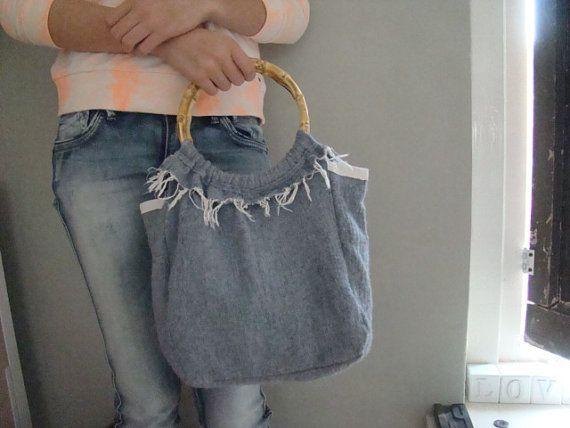 Eco wool feltleather  bag handbag wooden handle women by JJePa