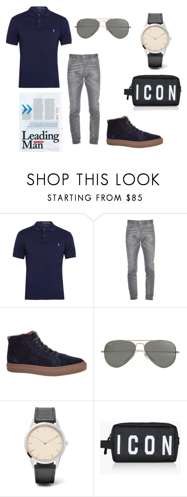 """Untitled #122"" by hasicelma ❤ liked on Polyvore featuring Polo Ralph Lauren, Dsquared2, Brunello Cucinelli, Parasol, Uniform Wares, men's fashion, menswear, rayban, PoloShirt and autumnday"