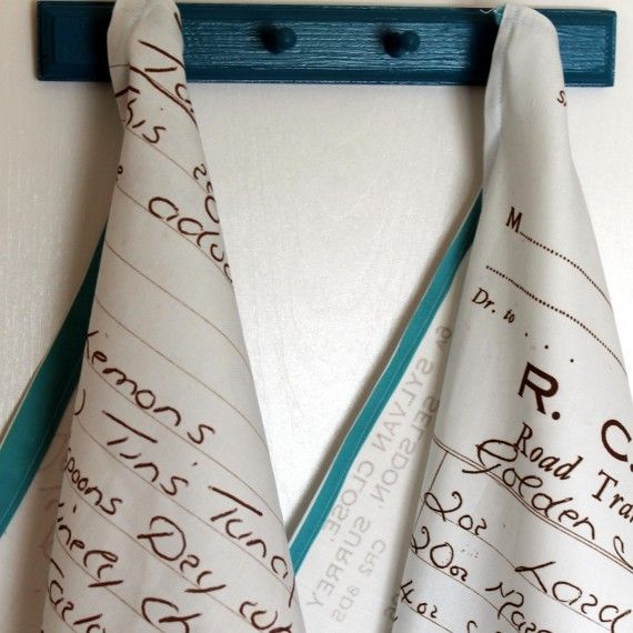 Transform handwritten recipes into tea towels; from Spoonflower. You can print a design of your choosing onto fabric, wallpaper, or wrapping paper!  In this tutorial, Spoonflower shows how to transform precious handwritten family recipes into heirloom tea towels--perfect for gifting or keeping!