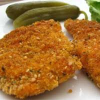 Breaded Baked Boneless Chicken Breasts- by far the best baked breaded chicken recipe I've ever tried!! Crispy, juicy and flavorful!  Only I used olive oil instead of canola