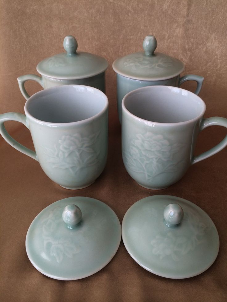 Asian Teacup Set, Celadon Green, Glazed Ceramic, Lidded cups, Chrysanthemum Design, Set of Four, Gift Quality - pinned by pin4etsy.com