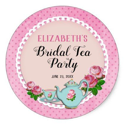 Pink English Cottage Style Bridal Tea Party Shower Classic Round Sticker - shower gifts diy customize creative