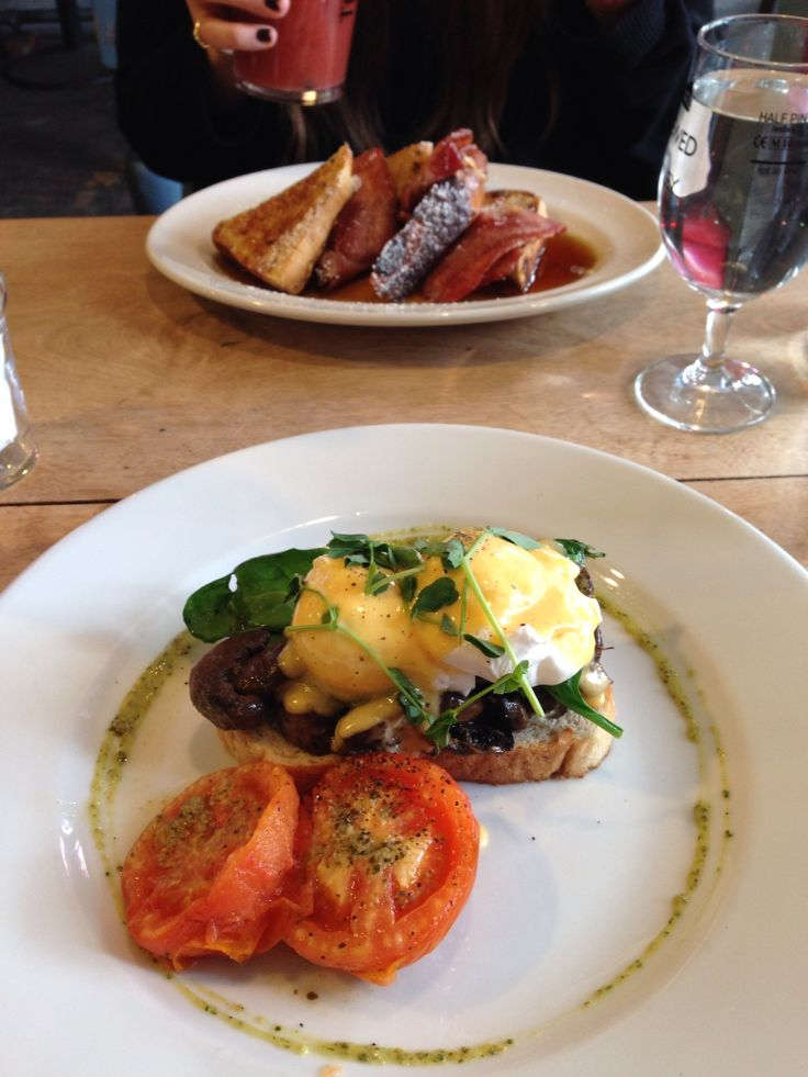 Brunching in style. Vege eggs benedict vs maple eggy bread and bacon