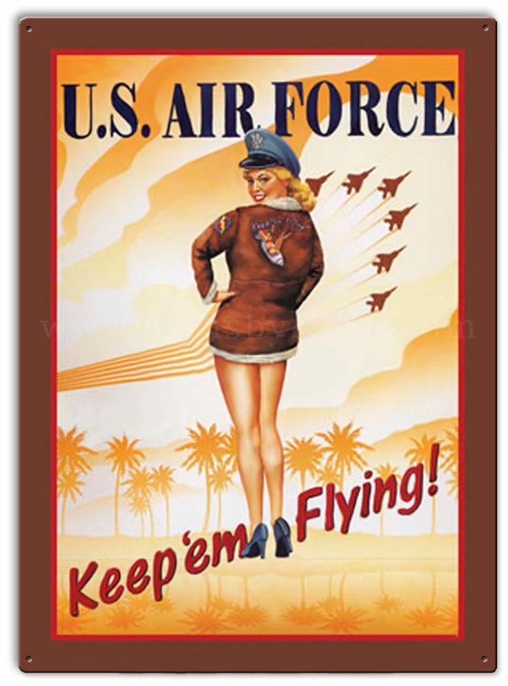 u s air force sign metal tin retro vintage pin up girl