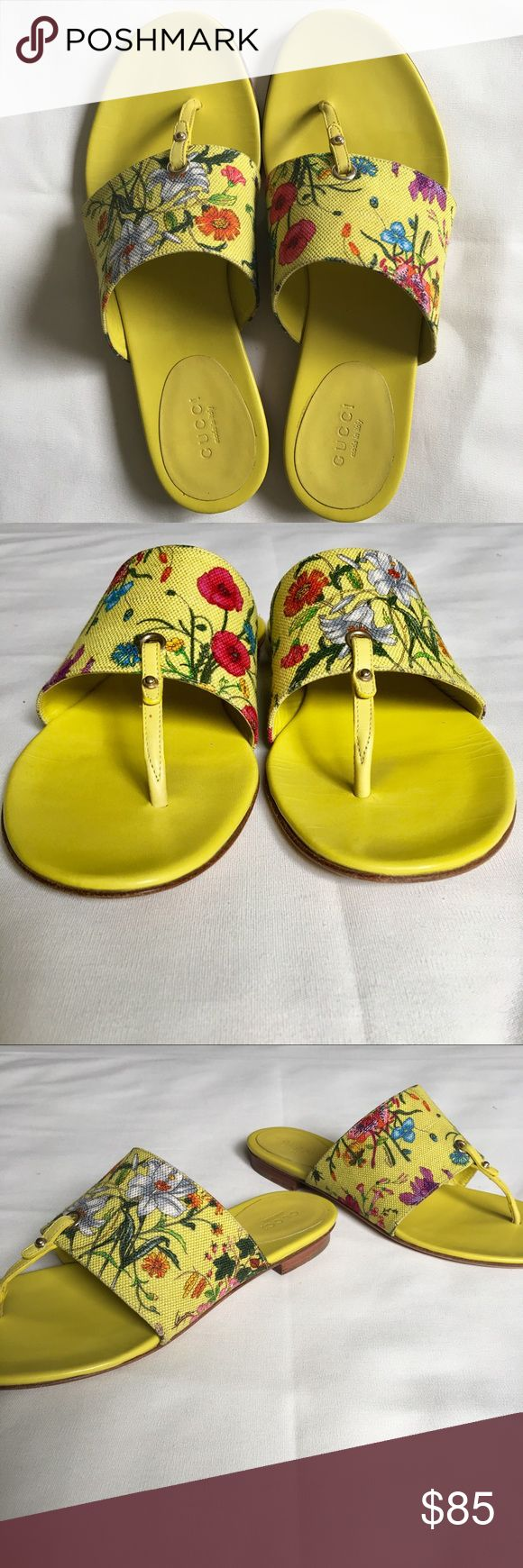 Gucci sandal In fairly good condition. Numerous small creases on insole, mild wear at insole heels, and general wear at outsoles, one tiny spot on the strap, faint discoloration on edges of canvas, no other major blemishes. Size 8.5. Price is firm. Gucci Shoes Sandals