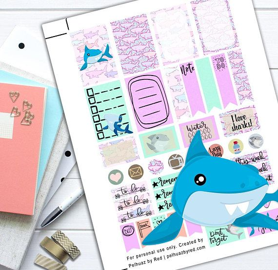 Shark Week Theme Planner Weekly Sticker Kit Happy Planner | Back to School | Shark Week | Shark Week Planner Sticker Set