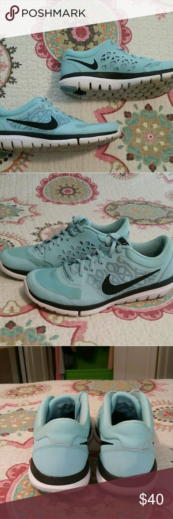 Nike Women's Flex Run Shoes These shoes are a size 9.5. They have been worn a decent amount of times, but they are still in good condition. No holes or stains. Just some dirt on the bottoms (pic 4).   *No trades, please. *Will accept reasonable offers. Nike Shoes Sneakers