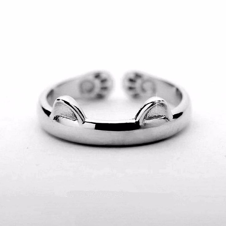Silver cat  ring design cute fashion jewelry cat ring female young girl child gifts adjustable wholesale price