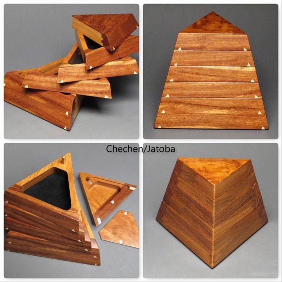 Geometric Jewelry Box with Secret Compartment and by watswood   – Wooden