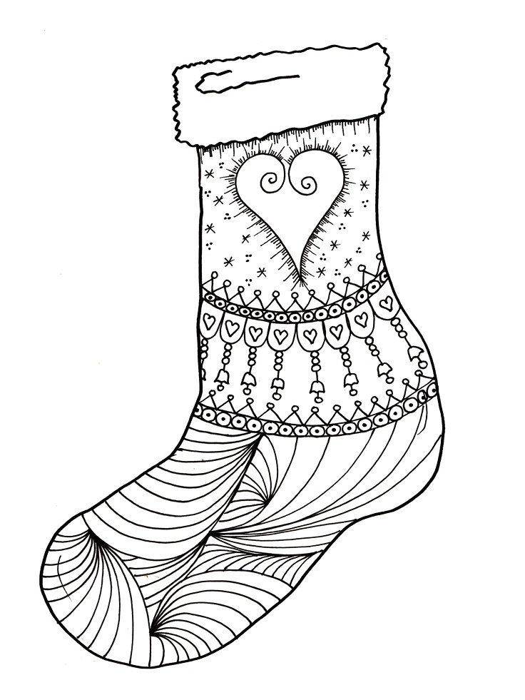 Free Christmas Coloring Page Stocking Milliandes Original Sheets Stockings To Color ChrisTmas Templates