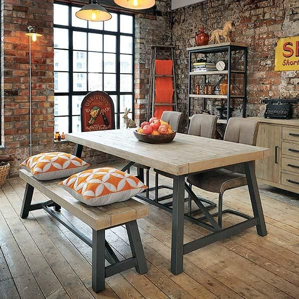Industrial Lansdowne Reclaimed Wood Extending Dining Table and Chairs